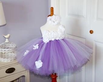 Lavender and White Hydrangea Tutu Dress