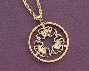 """Denmark Jewelry Pendant and Necklace, Denmark Five Kroner Coin hand Cut, 14 Karat Gold and Rhodium plated, 1"""" in Diameter, ( # 765 )"""