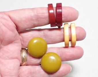 Bakelite Clip Earring Lot of Three Pairs