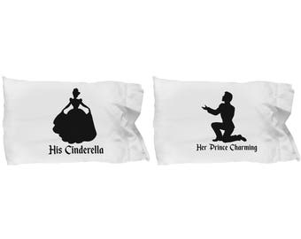 Disney His Cinderella and/or Her Prince Charming Gift Pillow Case(s) Disneyland Couple Love Set Castle