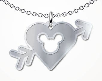 Magic Mouse Heart with Arrow Necklace Love Gift Jewelry