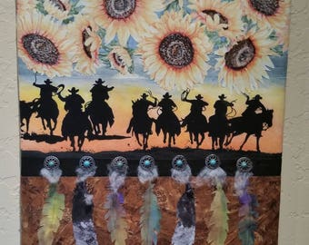 Riders in the Sky- Western collage Art