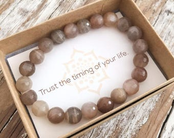 New Beginnings Moonstone Bracelet for Women, Yoga Jewelry for Women, Yoga Gifts, Holiday Gifts for Her