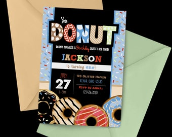 Donut Chalkboard Birthday Invitation, First Birthday Invitation, Donut Birthday, Sprinkles Birthday Invitation, Donut Shop, Donuts