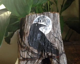 Hand Painted Mystical Crow And Full Moon On DRIFTWOOD Planter OOAK