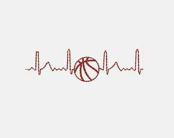 Electrocardiogram Heart Love Basketball Machine Embroidery Designs - Sports Patterns 332 B