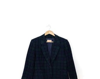 ON SALE Vintage Pendleton Dark Green Tartan Plaid Checked  Cropped Wool Blazer Jacket from 80's*