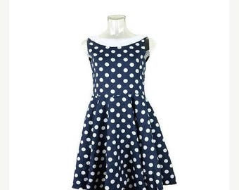 ON SALE Vintage Navy x White Polka dots  Flare  Dress /Sun Dress from 1980's/Marine Look*