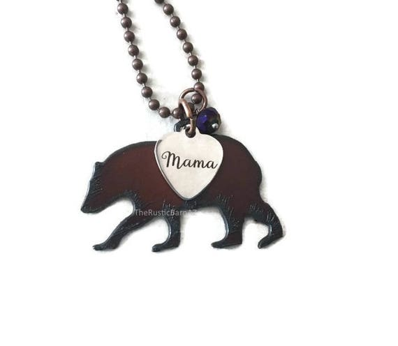 MAMA BEAR necklace with mama tag and crystal made of Rustic Rusty Rusted Recycled Metal