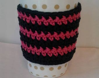 Pink and Black 100% cotton eco friendly coffee cup sleeve coffee cup cozy