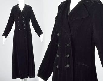 X Small 1970s Coat Black Velvet Maxi Coat Long Sleeves Floor Length Jacket  Evening Wear