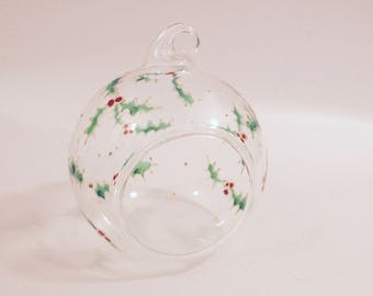 Limited Edition Hand Painted Christmas Holly Decoration Bauble
