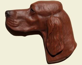 Hand painted  Irish Setter dog Setter irlandais  PERITAS wall sculpture statue fine art relief painting