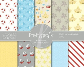 80% OFF SALE Coastal nautical papers digital paper, commercial use, scrapbook papers, background - PS511
