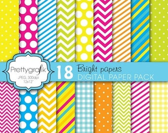 80% OFF SALE bright colors digital paper, commercial use, scrapbook papers, background polka dots, chevron, gingham, stripes - PS616