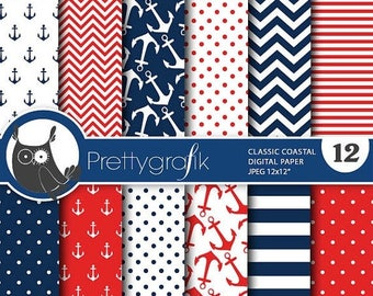 80% OFF SALE Classic coastal digital paper, commercial use, scrapbook papers, background, anchors, nautical - PS766