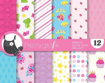 80% OFF SALE Princess digital paper, commercial use, scrapbook papers, background  - PS676