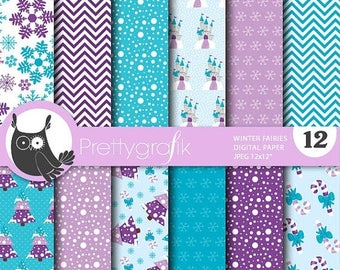 80% OFF SALE Winter fairies digital paper, commercial use, scrapbook papers, background, christmas - PS767