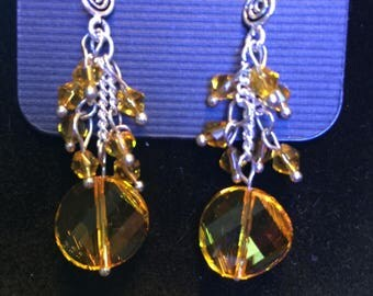 Yellow glass beaded dangle earrings, One of a Kind Beaded Jewellery Gift for Her