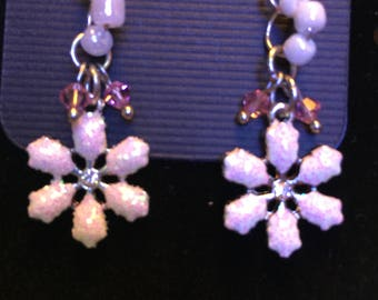 White, Pink glass beaded Snowflake dangle earrings, One of a Kind Beaded Jewellery Gift for Her