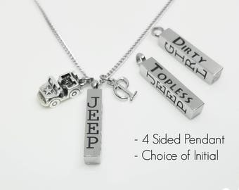 Jeep Girl Topless and Dirty - Charm Necklace - Jeep Jewelry - Personalized Necklace - 4 Wheeling - Off Roading - Engraved - Jeep Girl