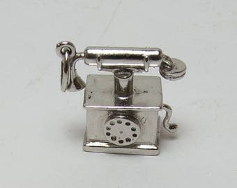 Vintage Sterling Silver Antique Telephone Charm