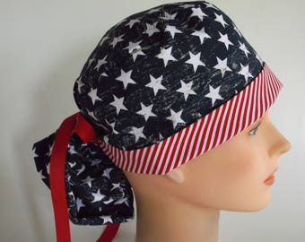 Stars and Stripes Ponytail - Womens lined surgical scrub cap, scrub hat, Nurse surgical hat, 44/44-4900w