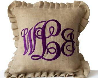 Monogrammed Pillows, Burlap Monogram Pillows Ruffle Cushion Cover, Initial Pillows, Baby Name Pillow, Housewarming Gift, Ruffled Pillow
