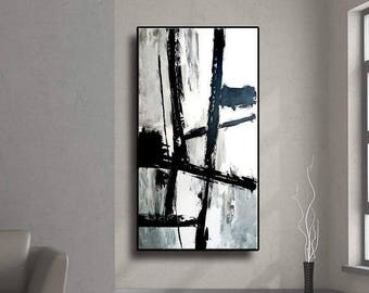 """ON SALE 48"""" Abstract painting original acrylic wall art large painting modern art Black Gray White Original  Acrylic painting Wall Decor AUL"""