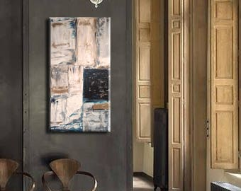 """48"""" Original Abstract painting acrylic wall art large modern art decor Gray Brown Turquoise Black Painting Wall Art"""