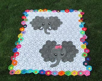 Adorable hand made crochet elephant afghan, blanket
