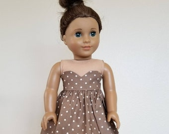 Mocha with White Dot Penelope Dress for American Girl by The Glam Doll