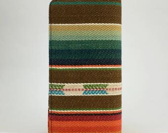 Brown and green sarape textile handcrafted checkbook wallet