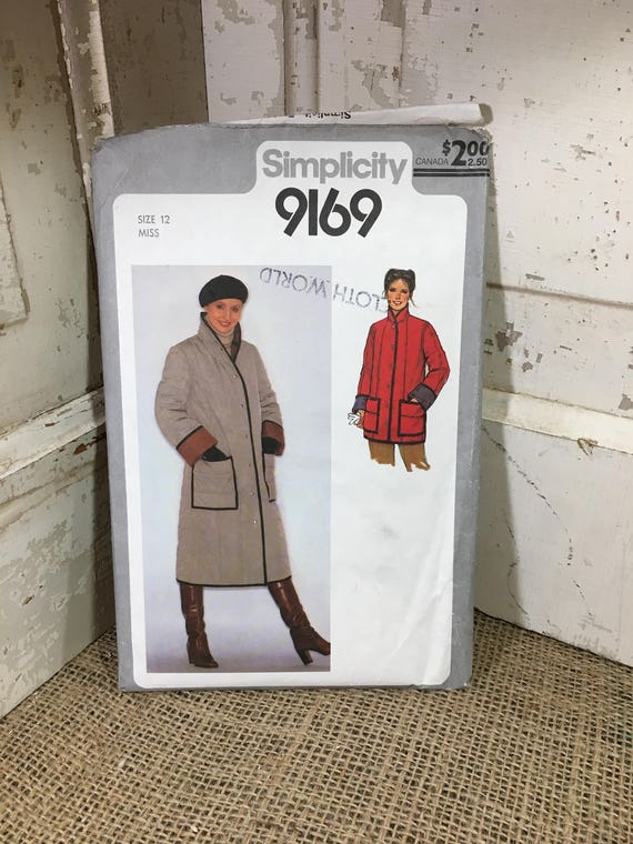 Vintage Simplicity pattern 9169 from 1979, Simplicity pattern 9169 uncut Misses quilted coat or jacket long or short, vintage sewing