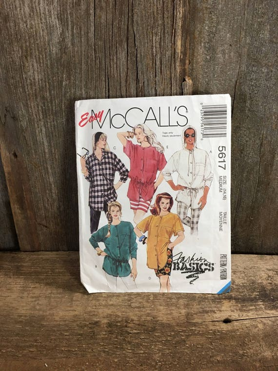 McCalls 5617, uncut sewing pattern from 1991, Fashion Basics pattern, MIsses blouses, loose fitting buttoned blouse size 14-16, vintage