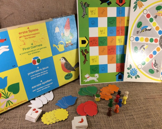 Vintage from 1966 4 First games by Otto Maier Verlag Made in Germany, Games for toddlers, first game for toddlers, Germany games Ravensburg