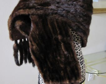 ANTIQUE FUR Deep Rich Brown Stole With Tails