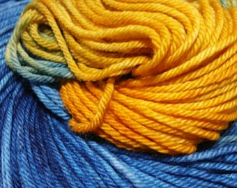 Maize & Blue Hand Dyed Superwash Merino Worsted Weight Yarn