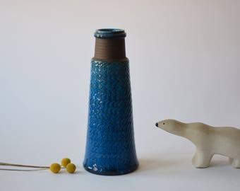 Rare & Tall! Kähler Hak Denmark - tall vase - turquoise / brown - Nils Kähler - Danish midcentury pottery