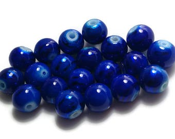 Royal Blue Lampwork Beads 10MM - 15 QTY