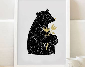 Bear carring wild flowers illustration - A3 print
