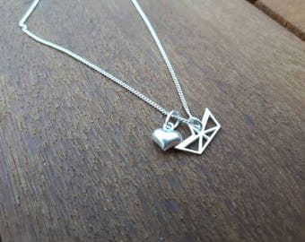 Sterling Silver Love Origami Necklace/Origami Necklace/Sailing gift/Origami/Sailboat Jewellery/Sail/Sea/Yacht/Love Sailing/Love Boats