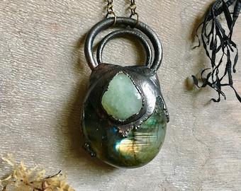 Labradorite Necklace - Raw Crystal Necklace - Electroformed Necklace - Wiccan Necklace - Aquamarine necklace