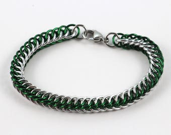 Persian Chainmaille Bracelet   Hand Crafted Chainmaille Jewelry   Handmade Bracelet   Green and Silver   Anodized Aluminum