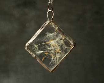 Real dandelion pendant, glass flowers terrarium jewelry, memory gift, botanical necklace, Forest jewelry, girlfriend gift