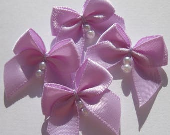 4 fabric bow Satin with beads 23-24 mm approximately (A151)