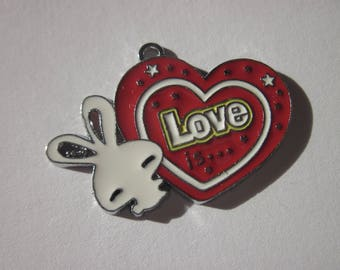 heart shaped charm in metal colored 2.5 cm (R14)
