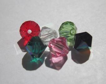 6 genuine swarovski 6 mm Crystal bicones - mix of colors (79)