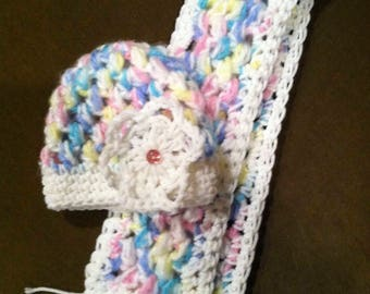 Baby girl hand knitted Cap & matching Scarf