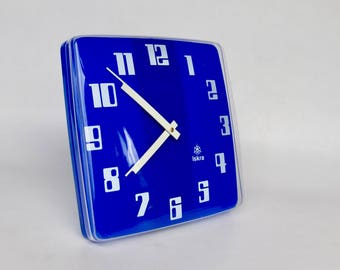 Large Vintage School Wall Clock / Iskra Wall Clock / 70's Yugoslavia / Blue